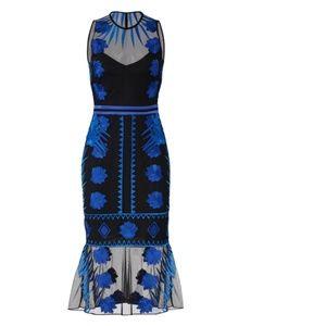 Nicole Miller - Blue Mesh Flutter Dress